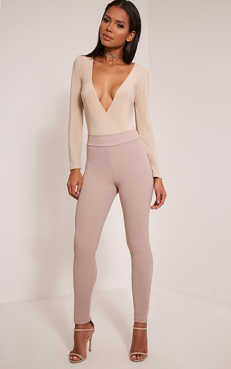 Kirsty Taupe Fine Ribbed Leggings 1