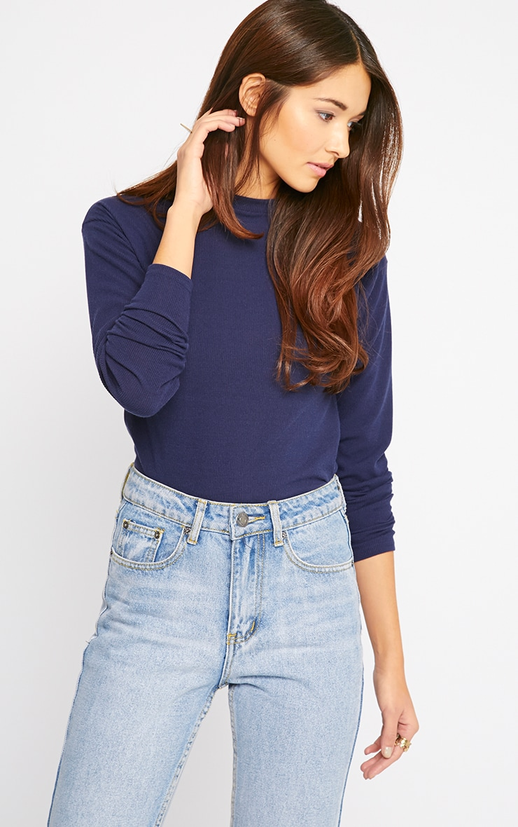Basic Navy Premium Ribbed Long Sleeve Top 5