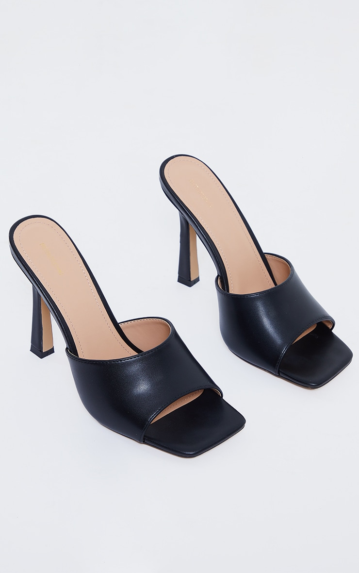 Black Square Toe Mule High Heels 3