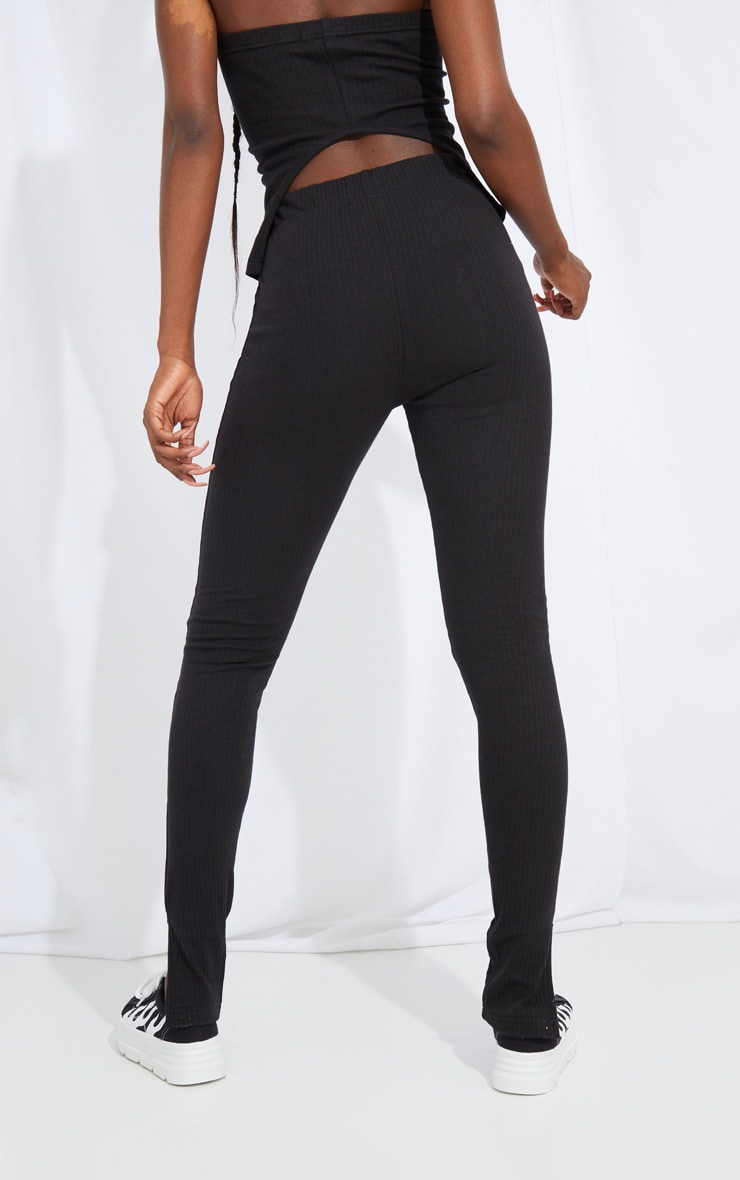 Tall Black Split Hem Ribbed Leggings 3