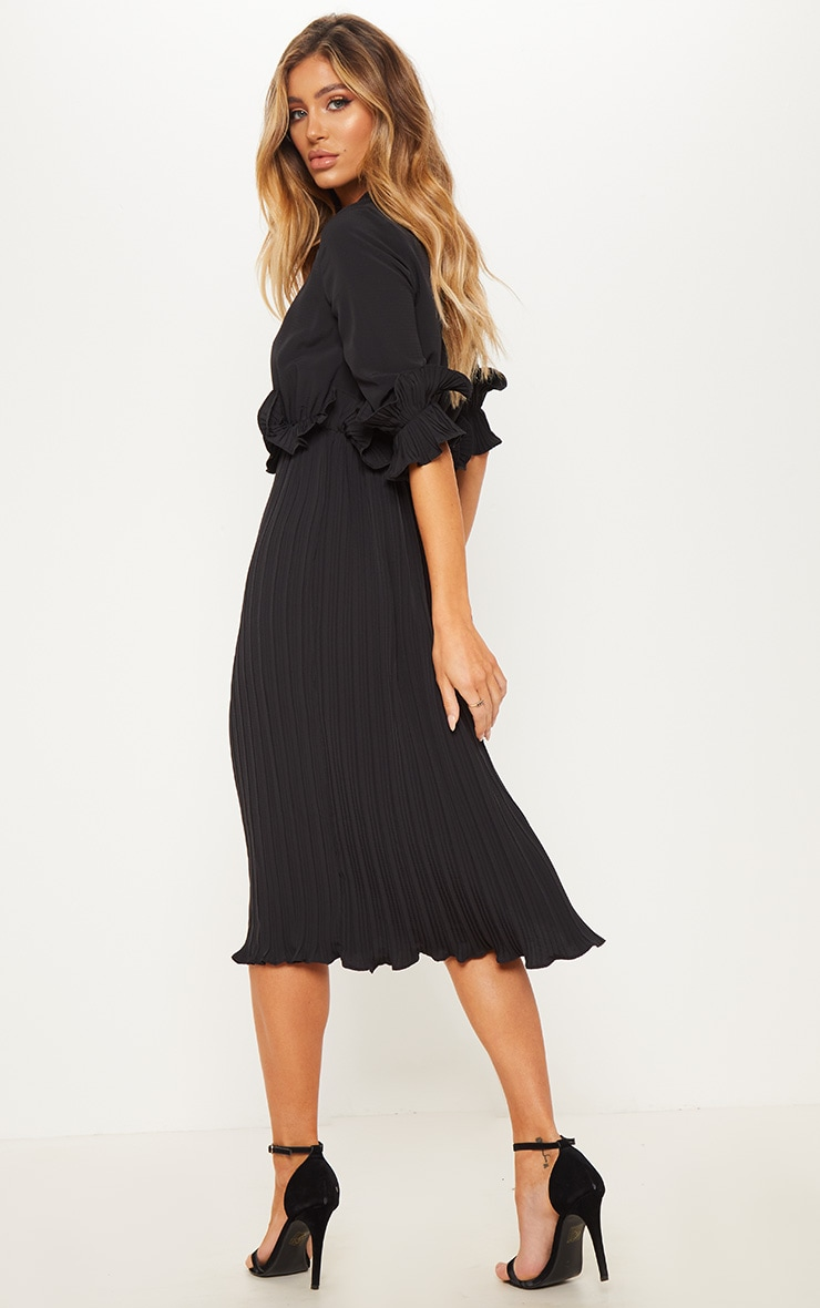 Black Frill Detail Pleated Midi Dress 2