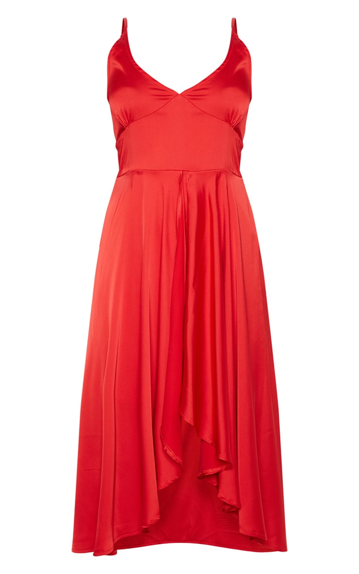 Red Satin Strappy Layered Skater Midi Dress 3