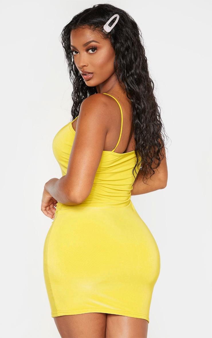 Shape Chartreuse Slinky Strappy Mini Dress 2