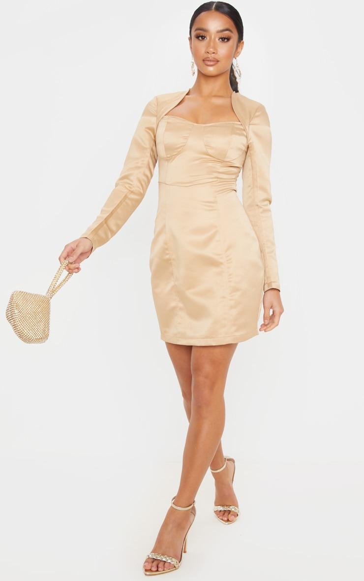 Petite - Mini-robe champagne satinée à armatures et manches longues 1