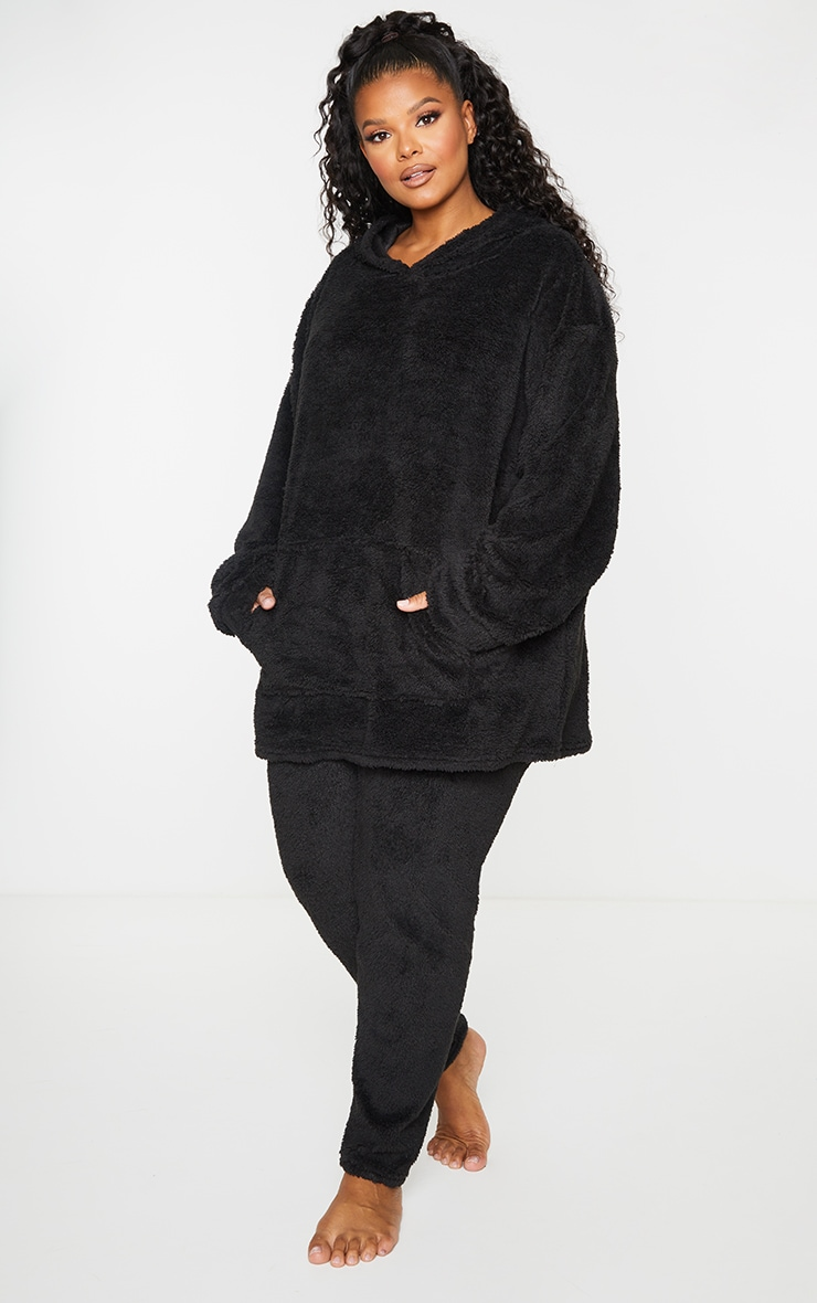 Plus Black Teddy Oversized Lounge Hoodie 3