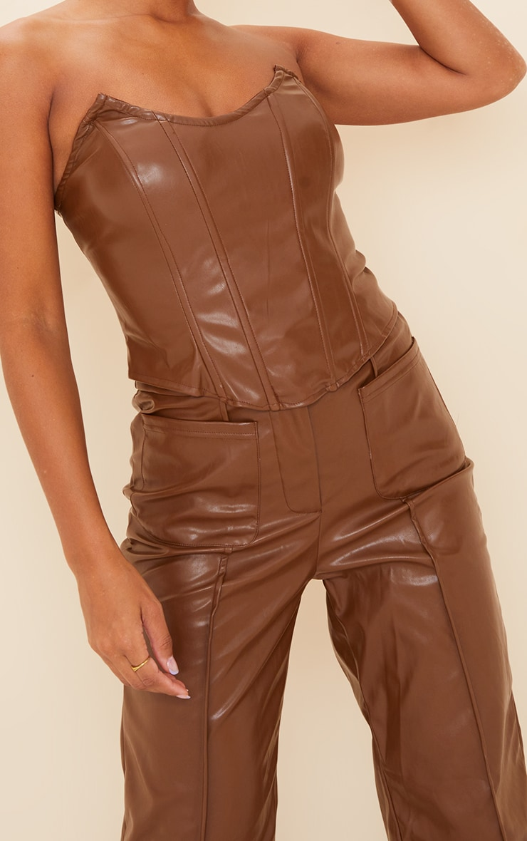 Chocolate Brown Faux Leather Pocket Front Straight Leg Trousers 4