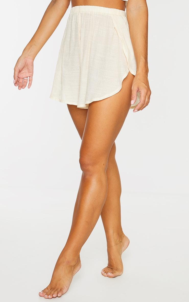 Nude Linen Look Side Split Beach Shorts 2