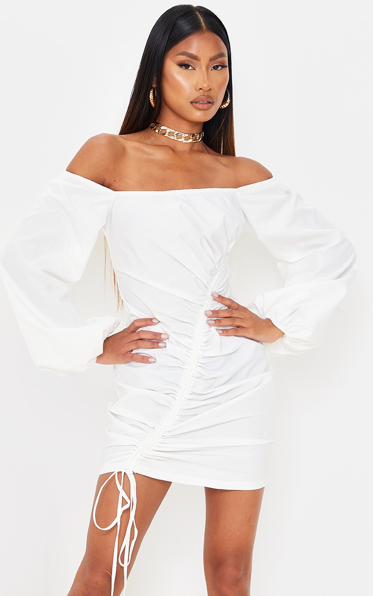 White Woven Bardot Asymmetric Ruched Bodycon Dress 1