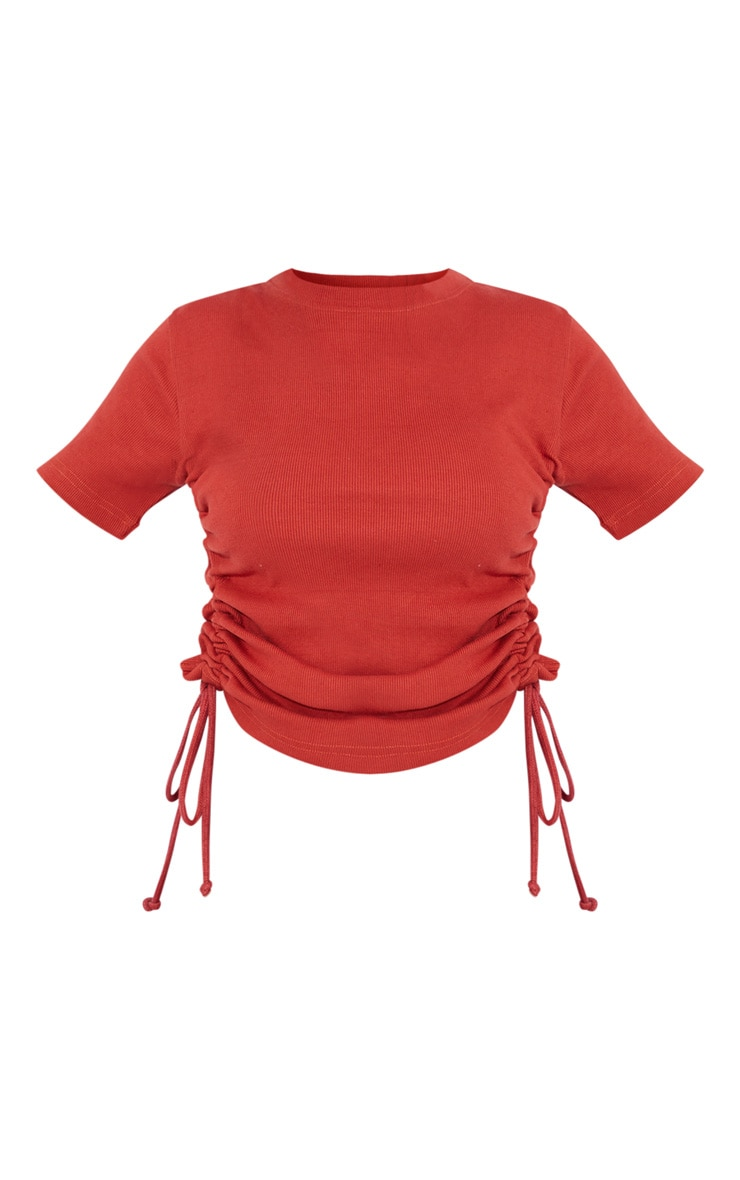 Rust Structured Rib Ruched Side Short Sleeve Top 5