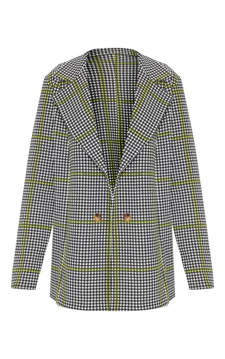 Black Dogtooth Oversized Blazer  3