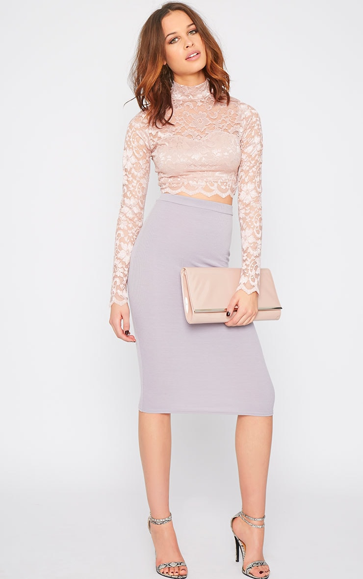 Rachel Pink Lace Turtle Neck Crop Top  1