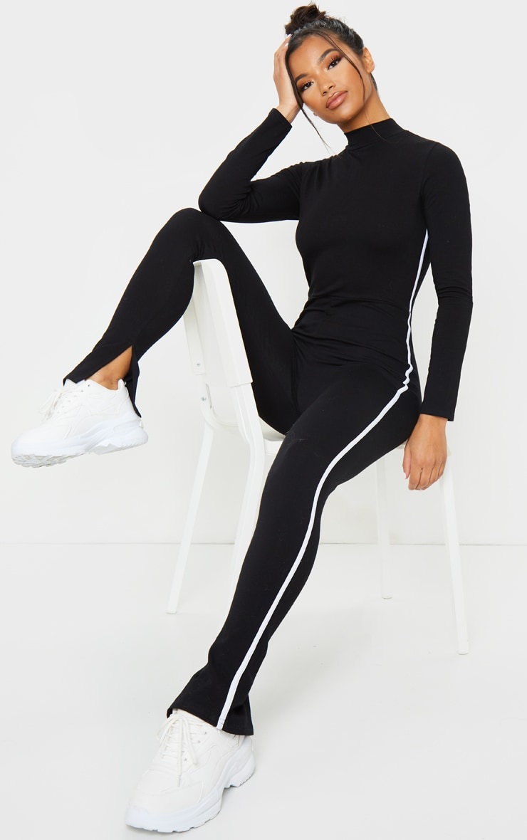 Black Sports Stripe High Neck Jumpsuit 1