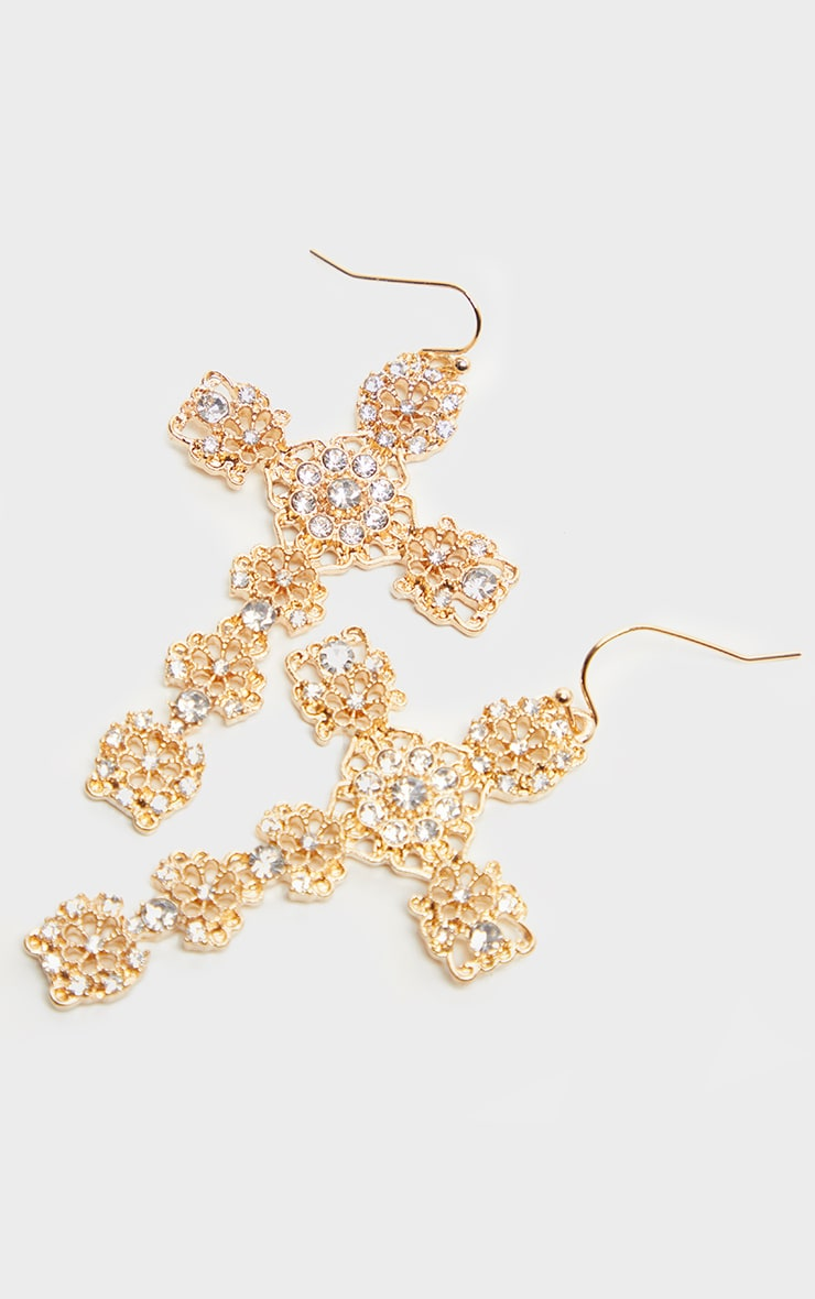 Gold Diamante Ornate Cross Earrings 3