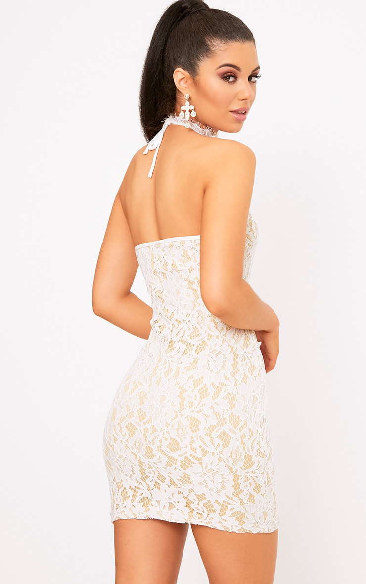 Shelby White Lace High Neck Bodycon Dress 2
