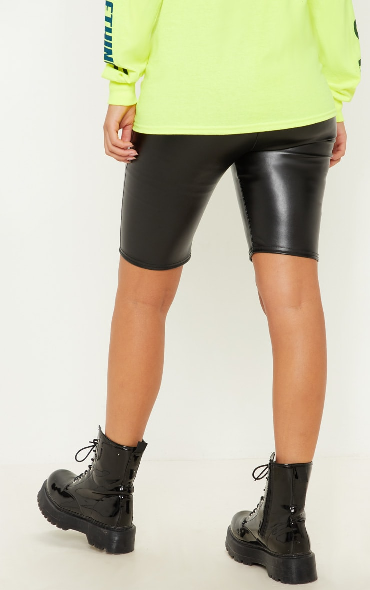 Black Faux Leather Cycle Short 4