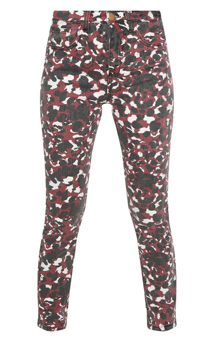 Burgundy Blurred Leopard Straight Leg Jeans  3