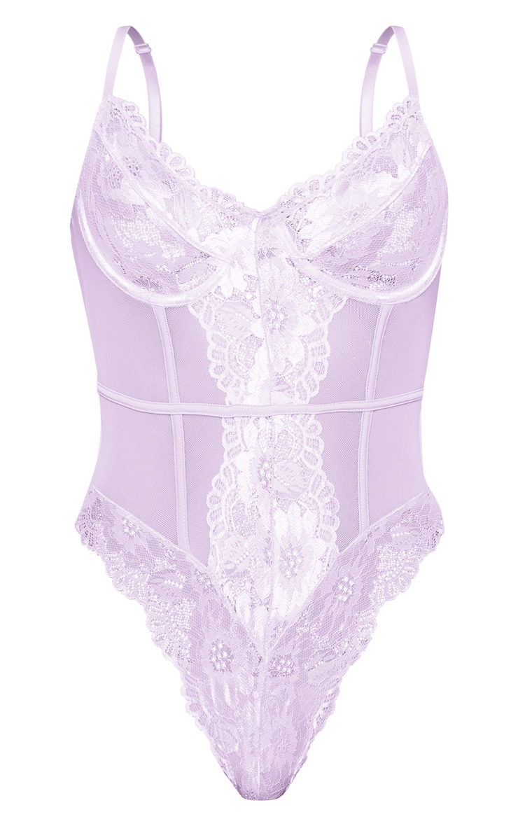 Lilac Underwired Cage Detail Lace Body 3