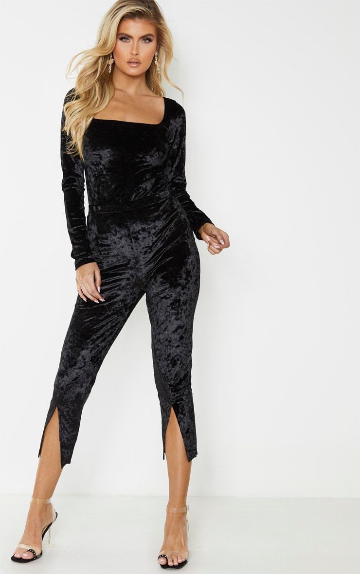 Tall Black Square Neck Crushed Velvet Bodysuit 5