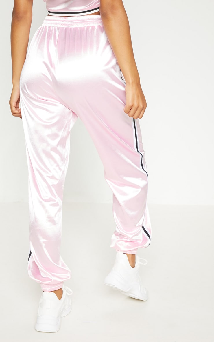 Pastel Pink Stripe Trim Joggers 5
