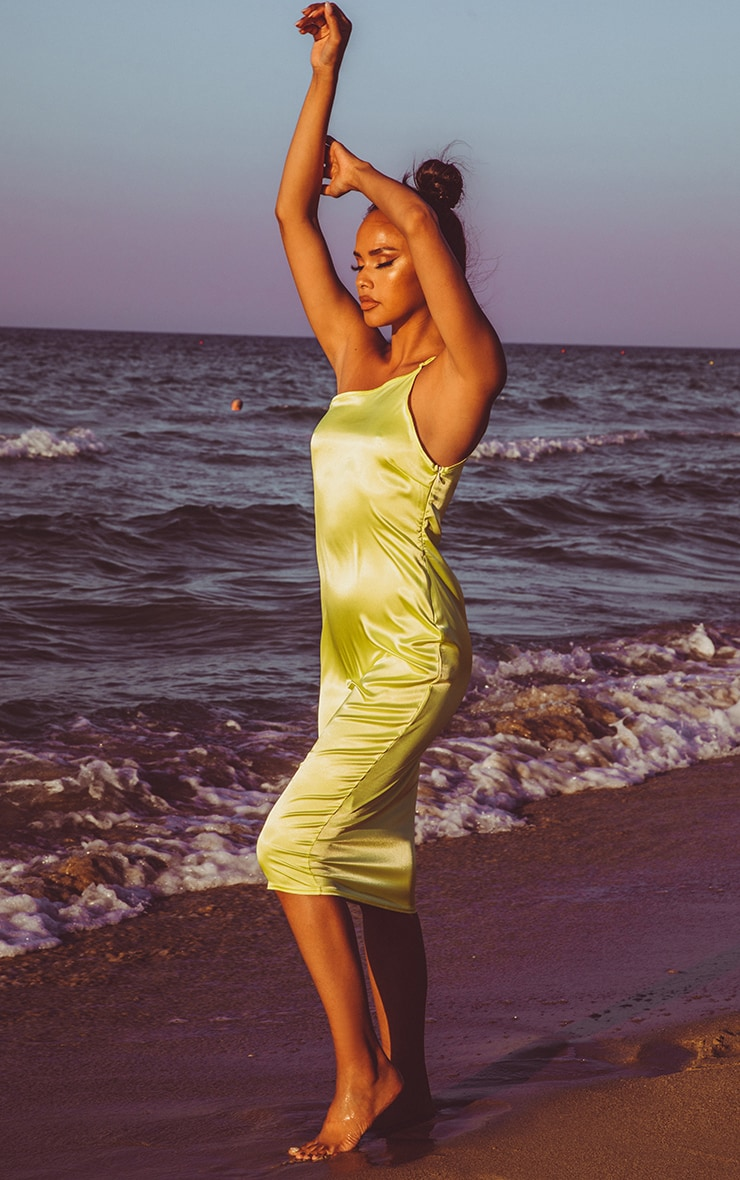 Lime Asymmetric Satin Midi Dress 4