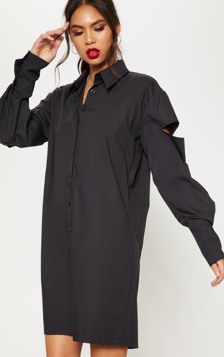 Black Split Sleeve Oversized Shirt Dress  1