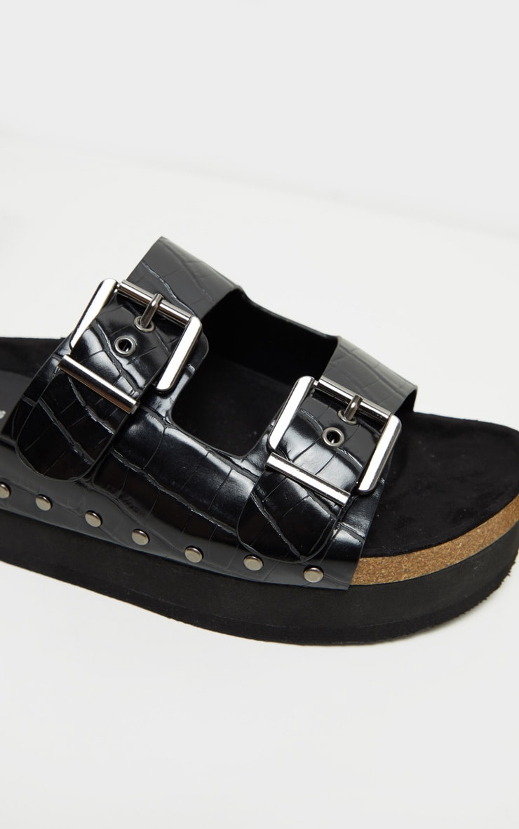 Black Flatform Studded Double Buckle Mule Slides 3