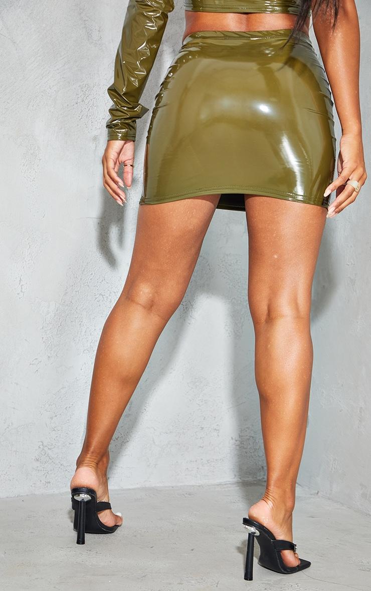 Olive Vinyl Split Side Mini Skirt 3