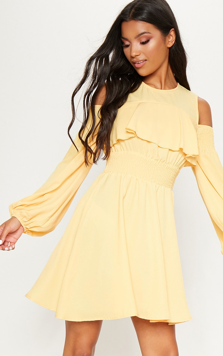 c3cc908854ab0 Lemon Chiffon Cold Shoulder Puff Sleeve Skater Dress image 1