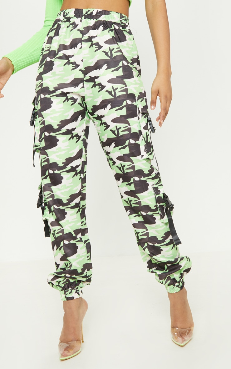 Tall Neon Lime Camo Pocket Detail Cargo Trousers 2