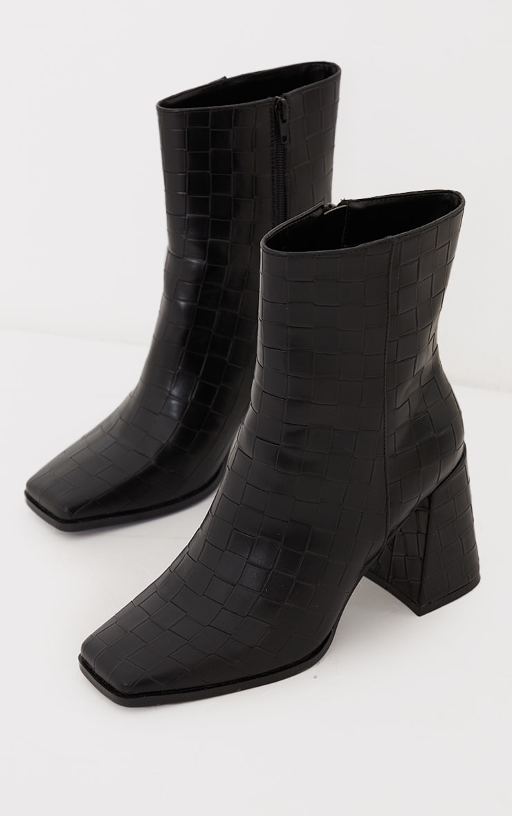 Black Wide Fit Square Toe Flare Heeled Ankle Boots 4