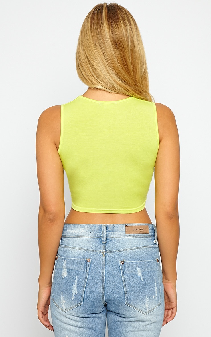 Basic Lime Round Neck Jersey Crop Top 2