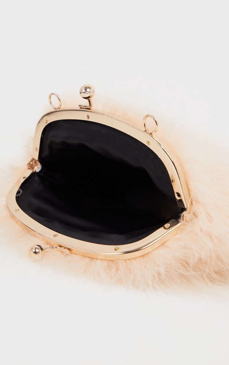 Nude Pink Marabou Feather Cross Body Bag 4