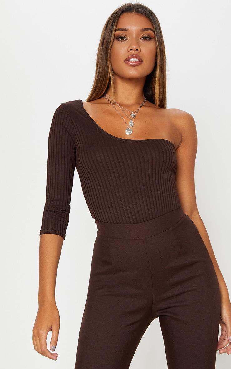 Chocolate Rib One Shoulder Crop Sleeve Bodysuit