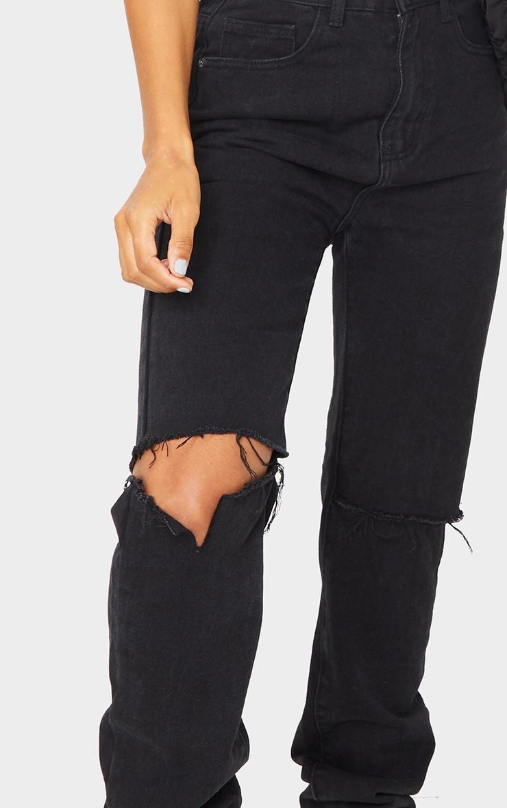 Washed Black Slash Knee Long Leg Straight Leg Jeans 4