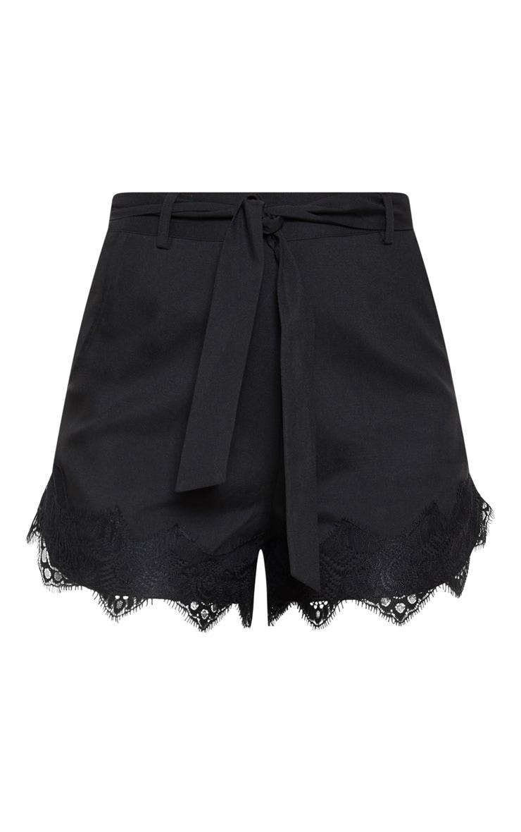 Black Woven Lace Trim Short  3
