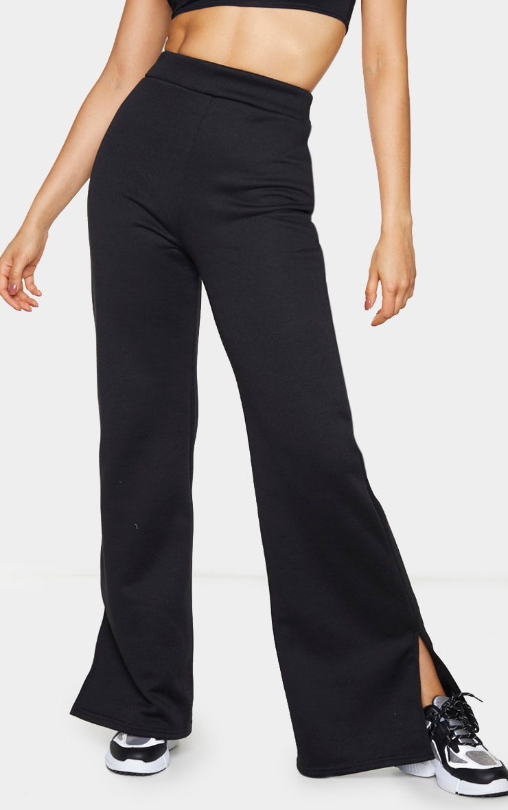 Tall Black Split Hem Wide Leg Joggers 2