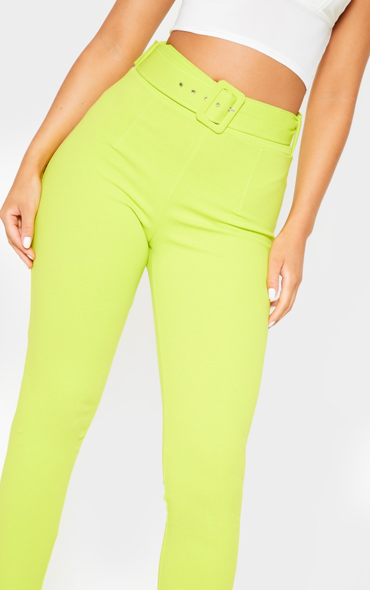Neon Lime Belted Waist Skinny Trouser 5