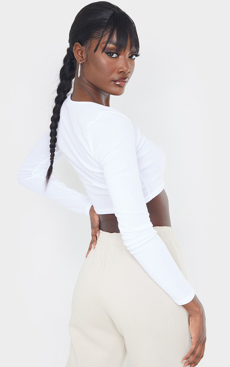 Tall White Square Neck Ribbed Long Sleeve Crop Top 2