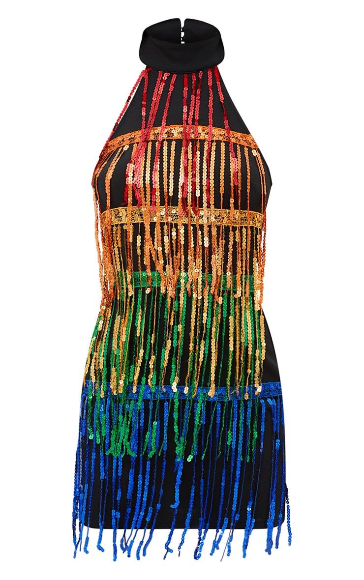 Black Fringed Sequin Bodycon Dress 3