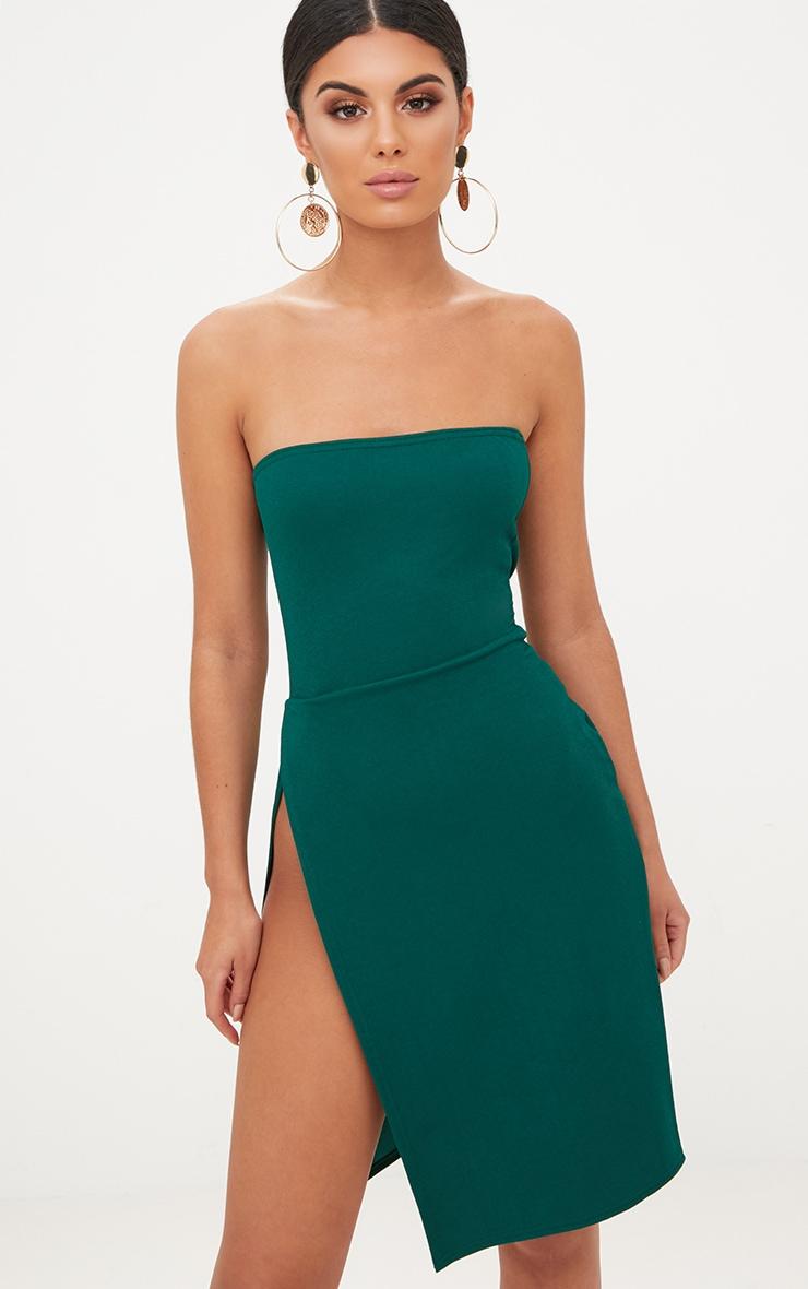 Emerald Green Extreme Split Bandeau Midi Dress 1
