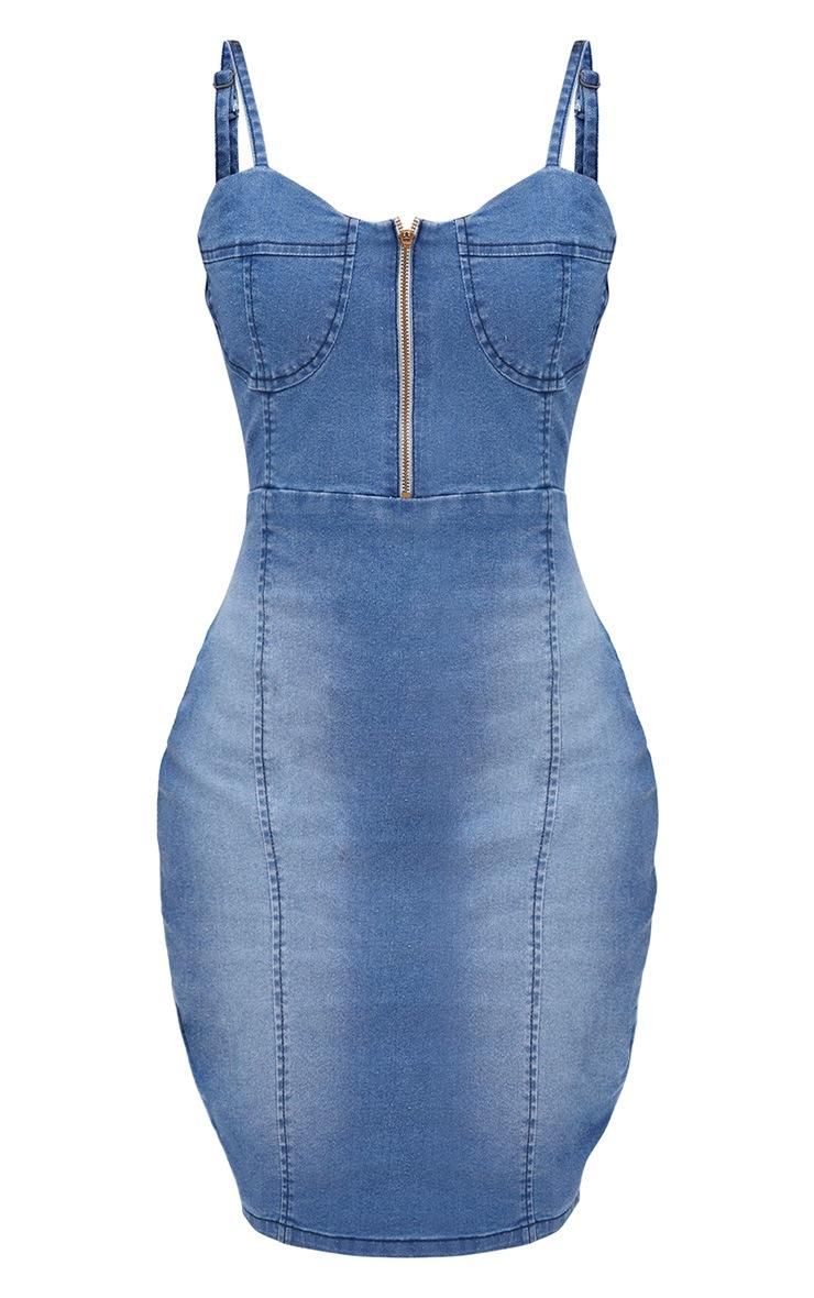 Shape Mid Wash Zip Front Bodycon Dress 3