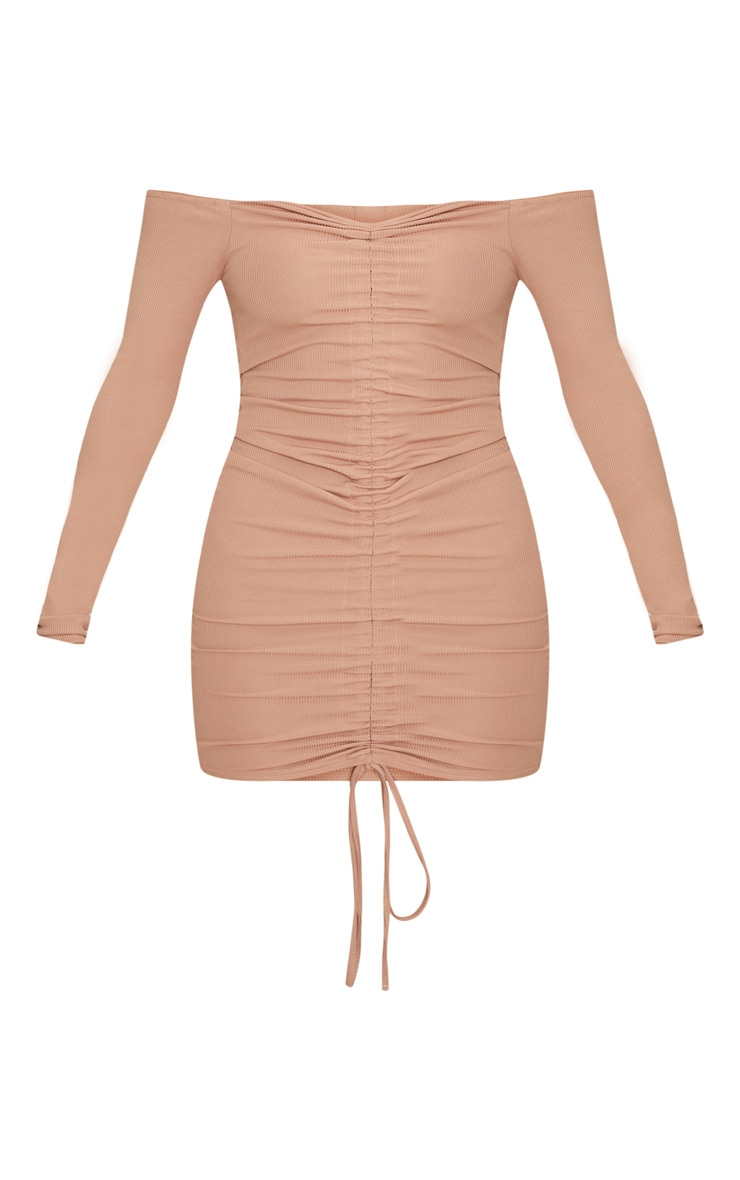 Stone Ribbed Long Sleeve Bardot Ruched Bodycon Dress 3