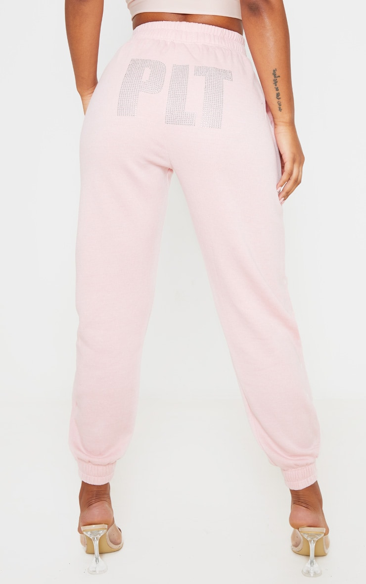 PRETTYLITTLETHING Baby Pink Diamante Slogan Jogger 4