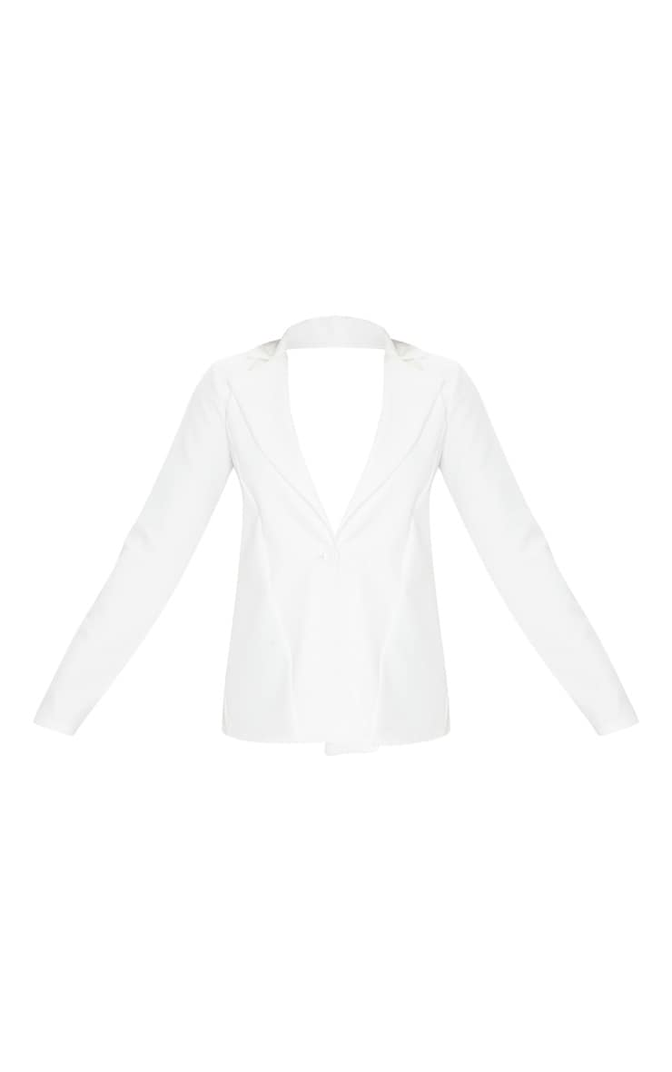 White Woven Tie Back Bow Detail Blazer 3