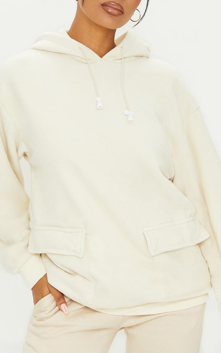 Ecru Fleece Oversized Pocket Sweatshirt 4