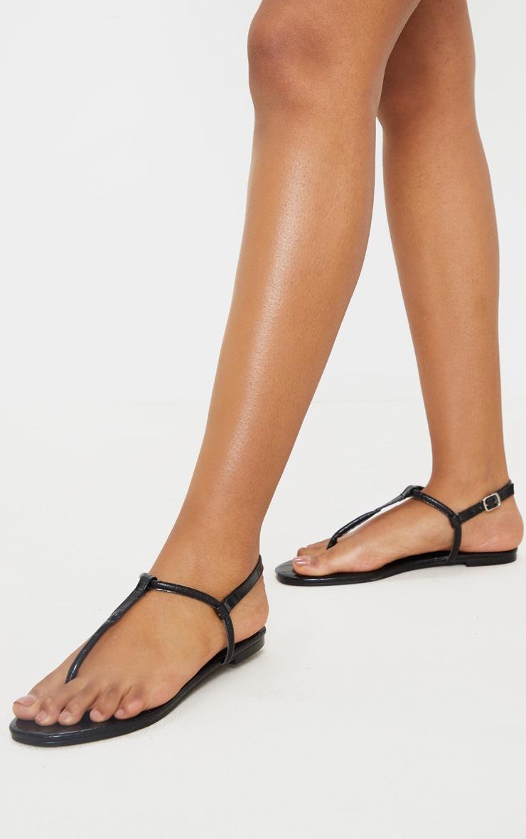 Black Toe Post Sandals 1