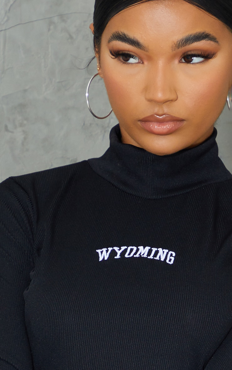 Black Rib High Neck Wyoming Embroidered Long Sleeve Crop Top 4