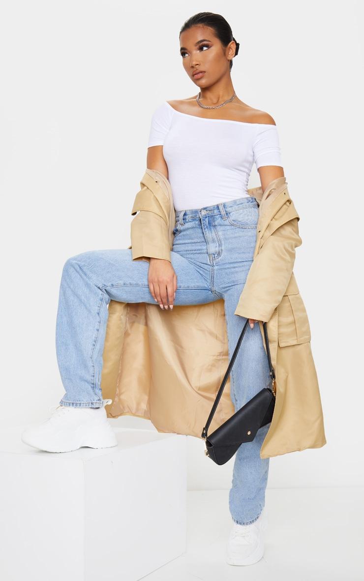 Black/White 2 Pack Basic Bardot Short Sleeve Thong Bodysuit 3