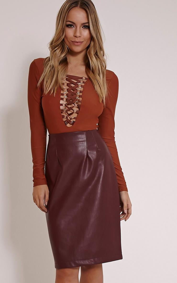 Clarissa Burgundy Faux Leather Midi Skirt 1