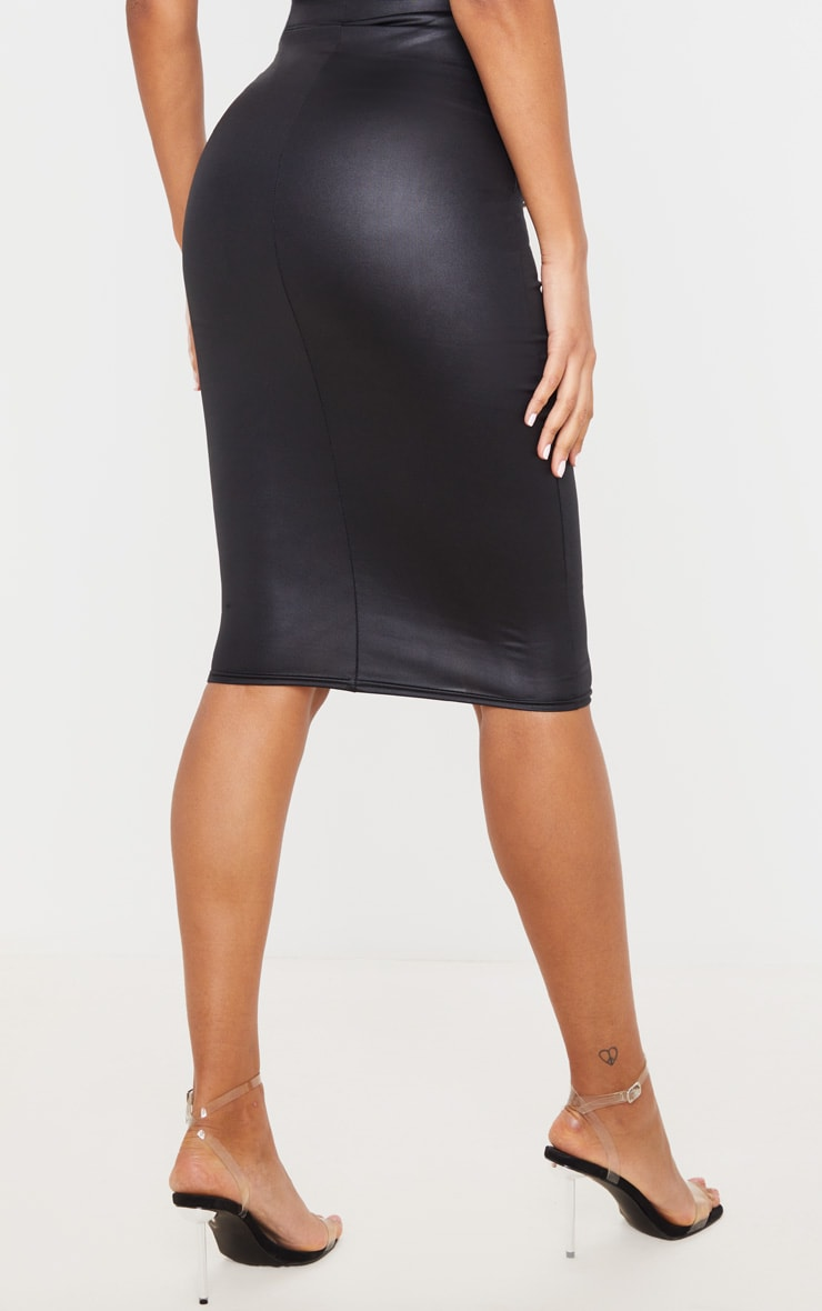 Black Leather Look Midi Skirt 3